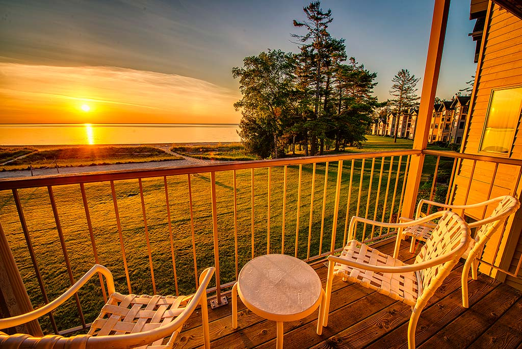 Every beachfront suite features a gorgeous Lake Michigan sunrise - delivered to your deck - every morning!      Every beachfront suite features a gorgeous Lake Michigan sunrise - delivered to your deck each morning!