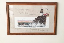 Framed prints feature breathtaking lighthouses.