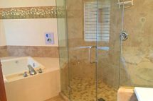 Beachfront lodging in Door County featuring Luxury shower and hot tub